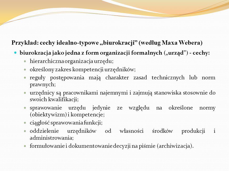 """Przykład: cechy idealno-typowe """"biurokracji (według Maxa Webera)"""