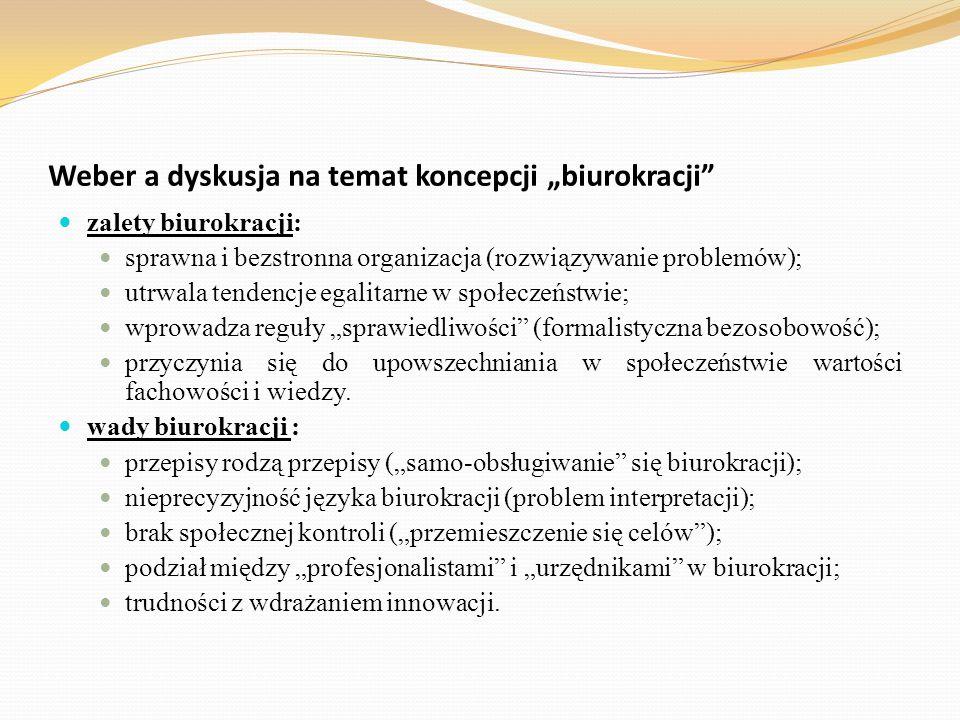"""Weber a dyskusja na temat koncepcji """"biurokracji"""