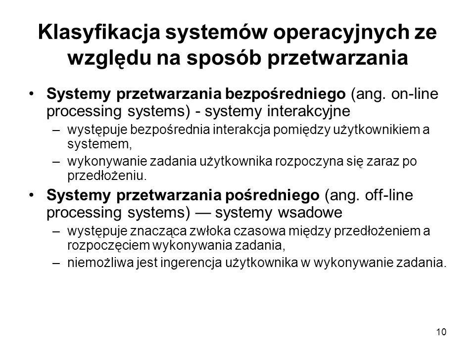 Klasyfikacja systemów operacyjnych ze względu na sposób przetwarzania