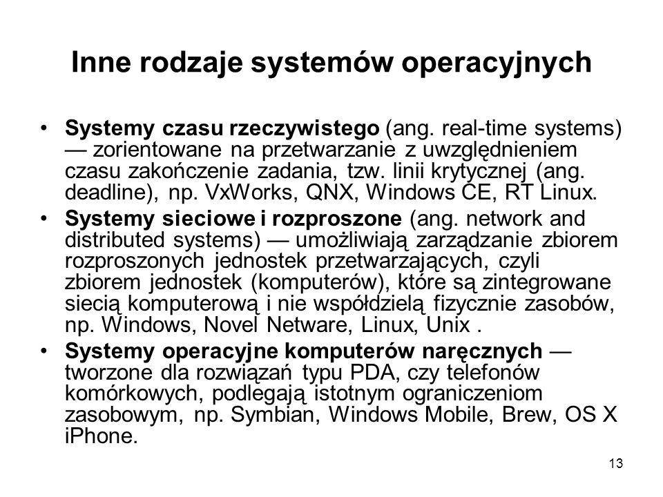 Inne rodzaje systemów operacyjnych