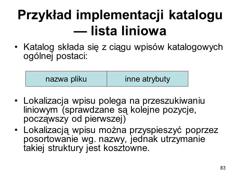 Przykład implementacji katalogu — lista liniowa