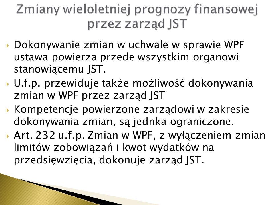 Zmiany wieloletniej prognozy finansowej przez zarząd JST