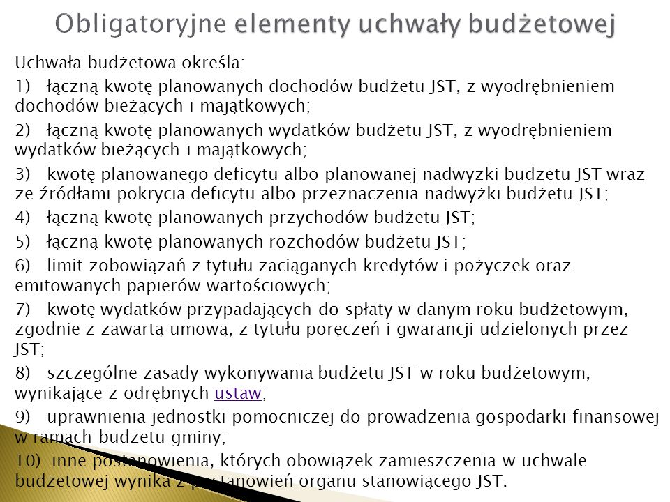 Obligatoryjne elementy uchwały budżetowej