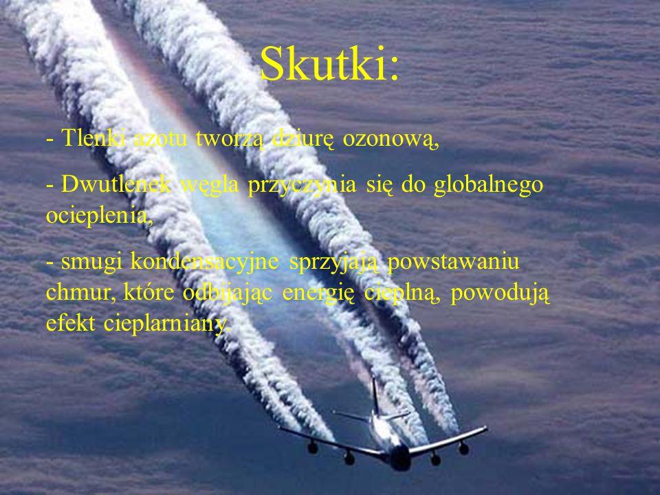 Skutki: Tlenki azotu tworzą dziurę ozonową,