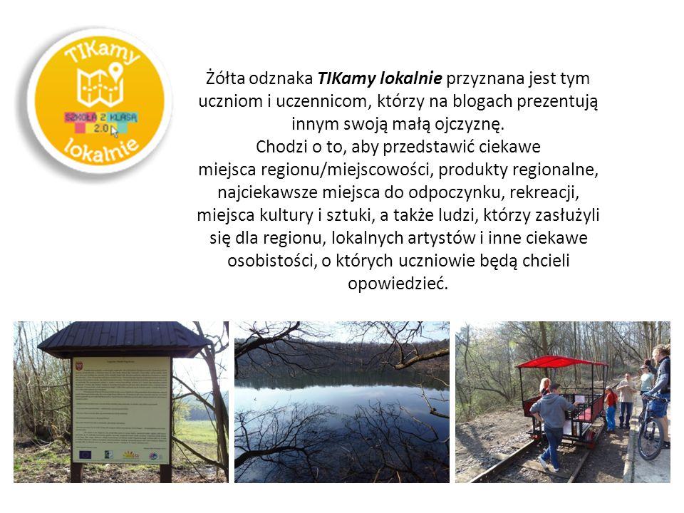 Żółta odznaka TIKamy lokalnie przyznana jest tym uczniom i uczennicom, którzy na blogach prezentują innym swoją małą ojczyznę.