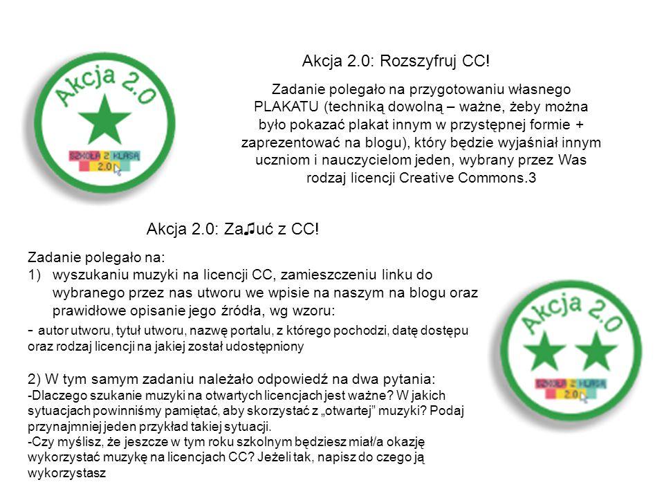 Akcja 2.0: Rozszyfruj CC! Akcja 2.0: Za♫uć z CC!
