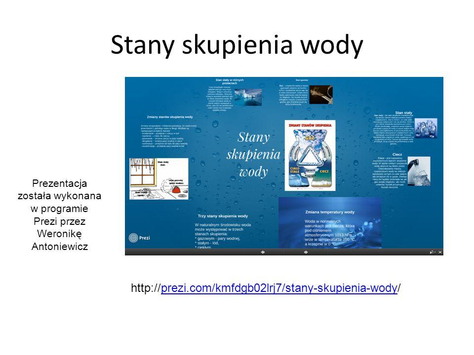 Stany skupienia wody Prezentacja została wykonana w programie Prezi przez Weronikę Antoniewicz.