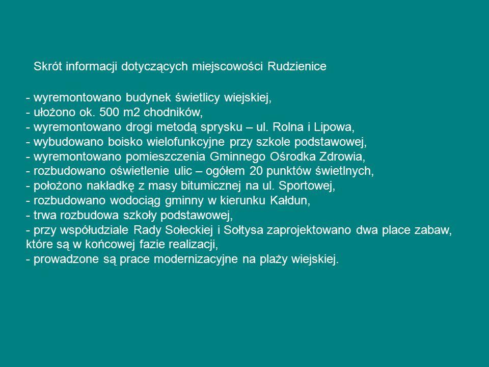 Skrót informacji dotyczących miejscowości Rudzienice