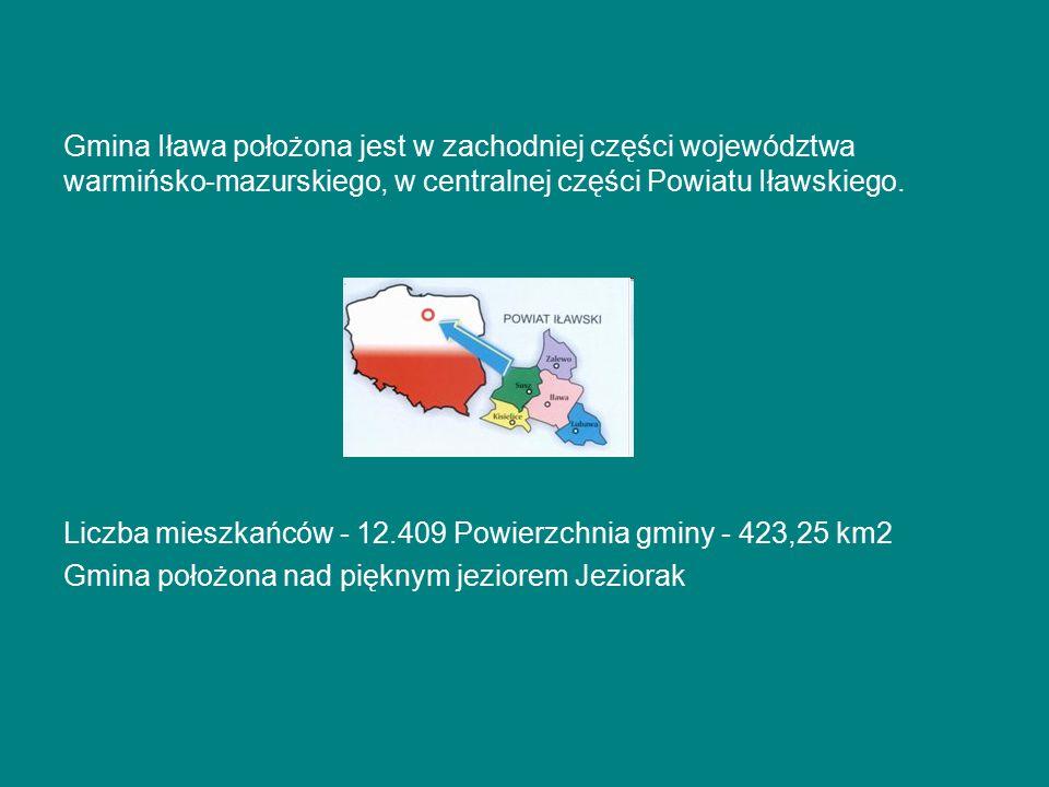 Gmina Iława położona jest w zachodniej części województwa warmińsko-mazurskiego, w centralnej części Powiatu Iławskiego.