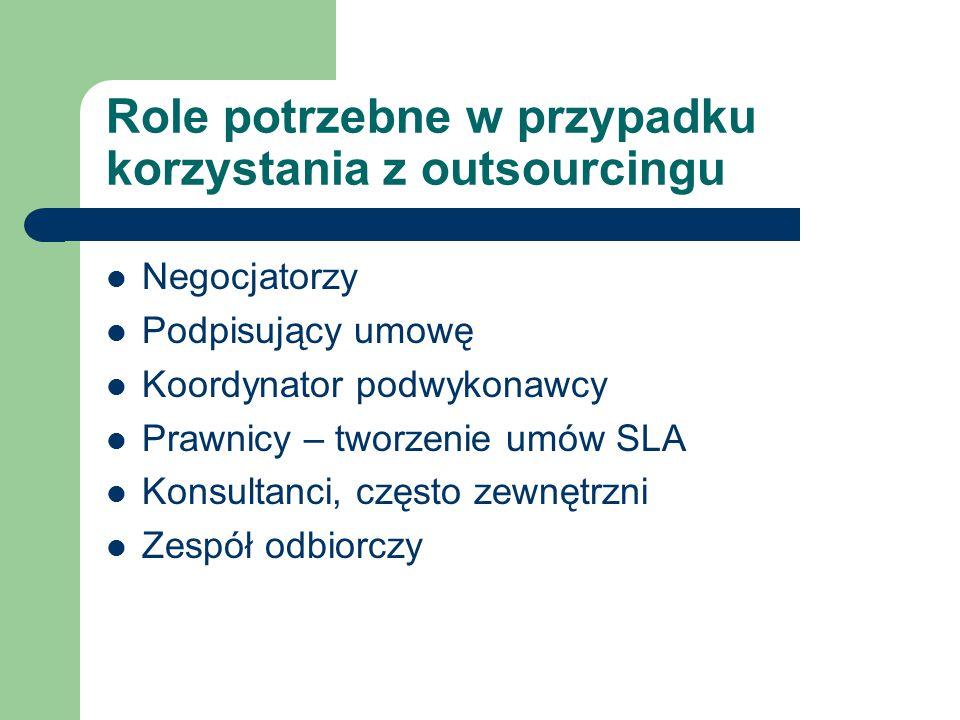 Role potrzebne w przypadku korzystania z outsourcingu