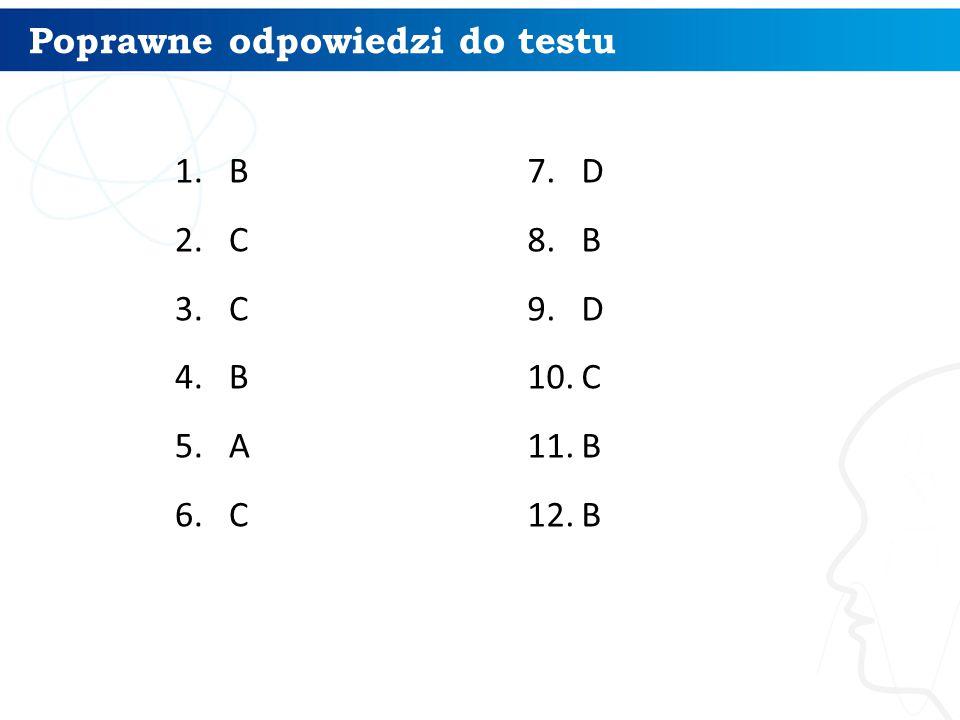 Poprawne odpowiedzi do testu