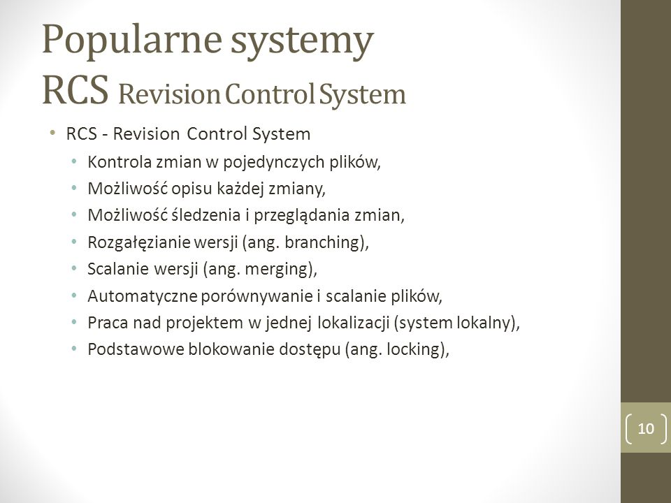 Popularne systemy RCS Revision Control System