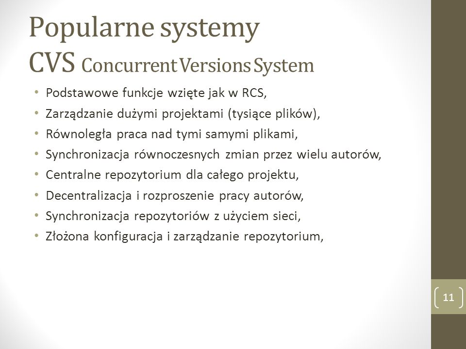 Popularne systemy CVS Concurrent Versions System
