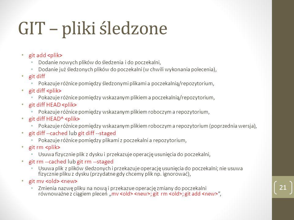 GIT – pliki śledzone git add <plik> git diff
