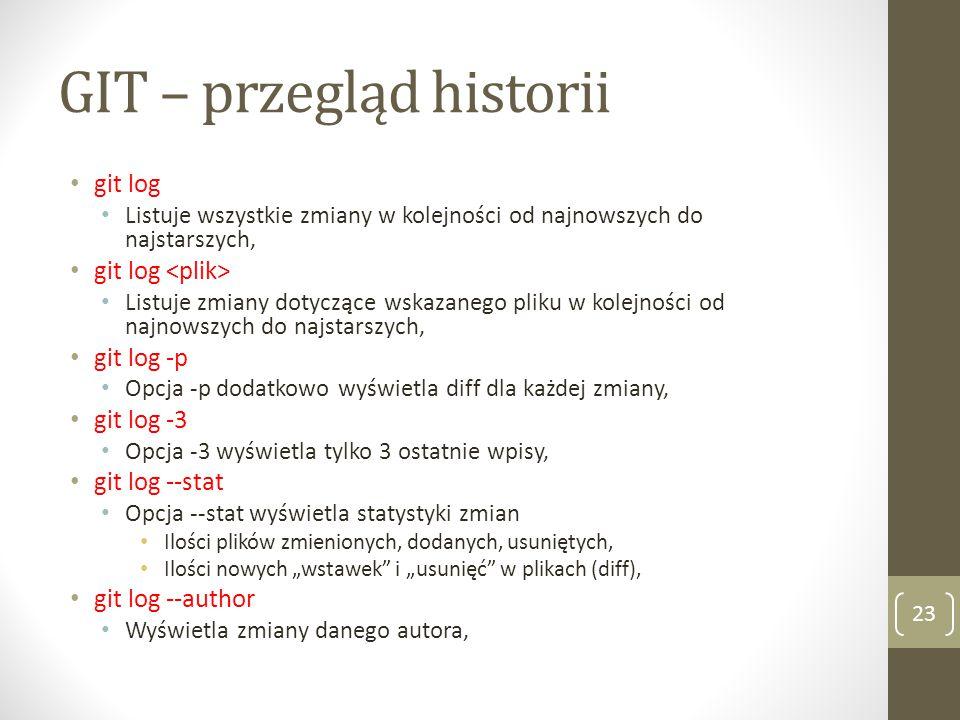 GIT – przegląd historii