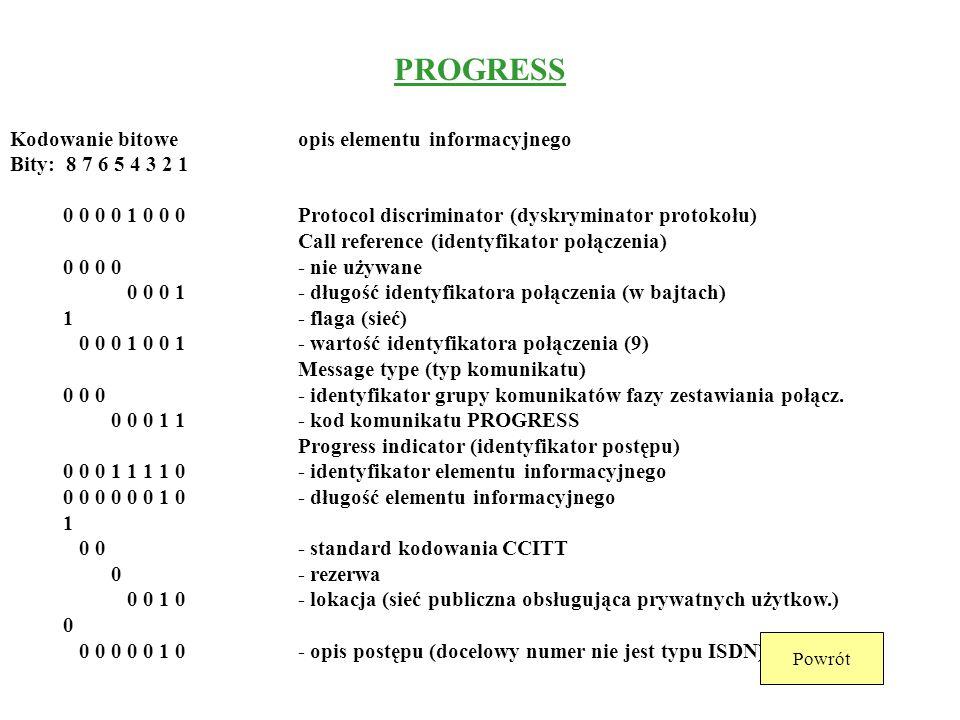 PROGRESS Kodowanie bitowe opis elementu informacyjnego