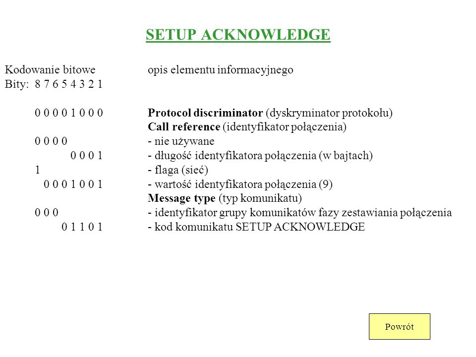 SETUP ACKNOWLEDGE Kodowanie bitowe opis elementu informacyjnego