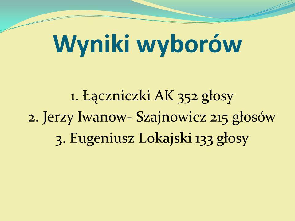 Wyniki wyborów 1. Łączniczki AK 352 głosy 2. Jerzy Iwanow- Szajnowicz 215 głosów 3.