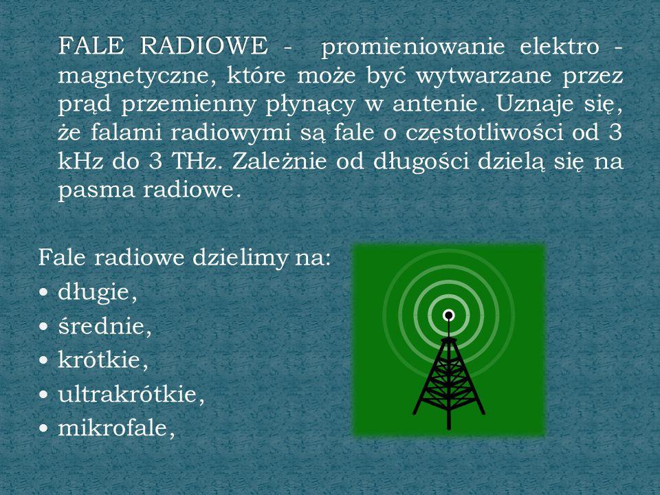 FALE RADIOWE - promieniowanie elektro - magnetyczne, które może być wytwarzane przez prąd przemienny płynący w antenie. Uznaje się, że falami radiowymi są fale o częstotliwości od 3 kHz do 3 THz. Zależnie od długości dzielą się na pasma radiowe.