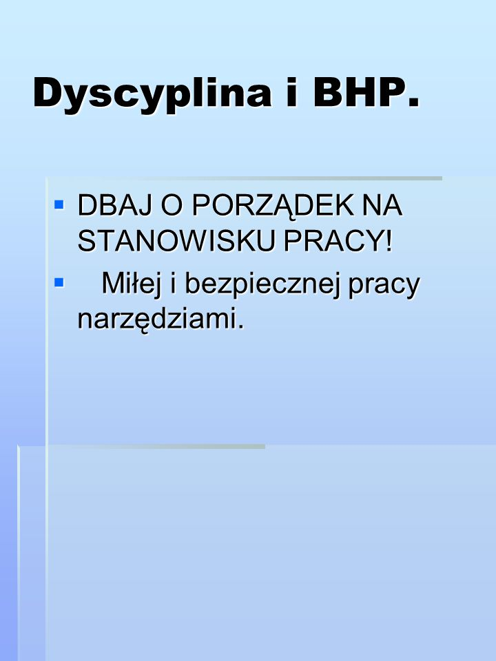Dyscyplina i BHP. DBAJ O PORZĄDEK NA STANOWISKU PRACY!