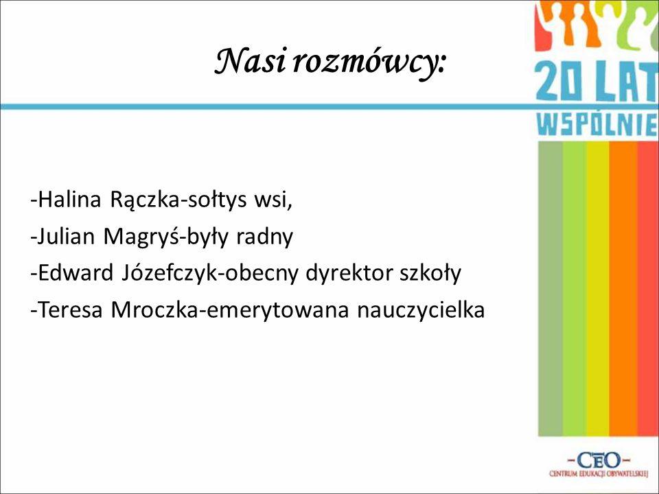 Nasi rozmówcy: -Halina Rączka-sołtys wsi, -Julian Magryś-były radny