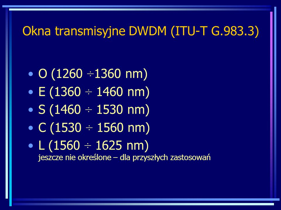Okna transmisyjne DWDM (ITU-T G.983.3)