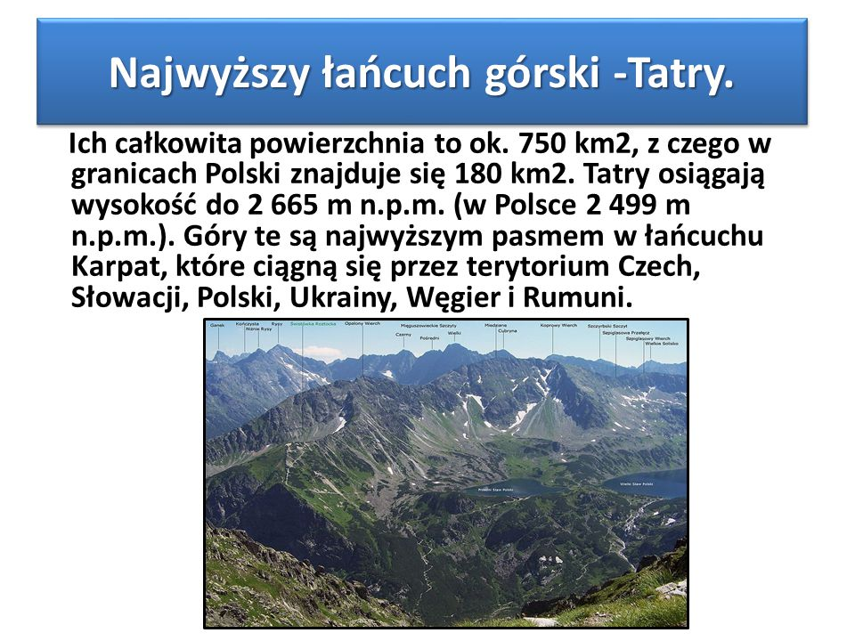 Najwyższy łańcuch górski -Tatry.