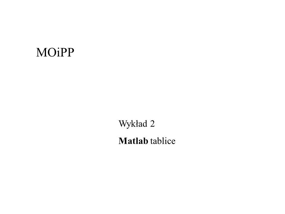 MOiPP Wykład 2 Matlab tablice