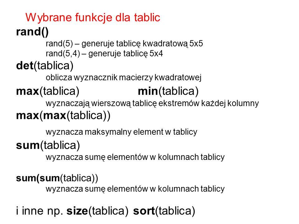 Wybrane funkcje dla tablic rand() det(tablica)
