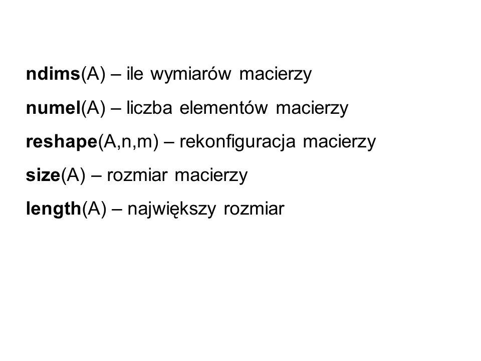 ndims(A) – ile wymiarów macierzy
