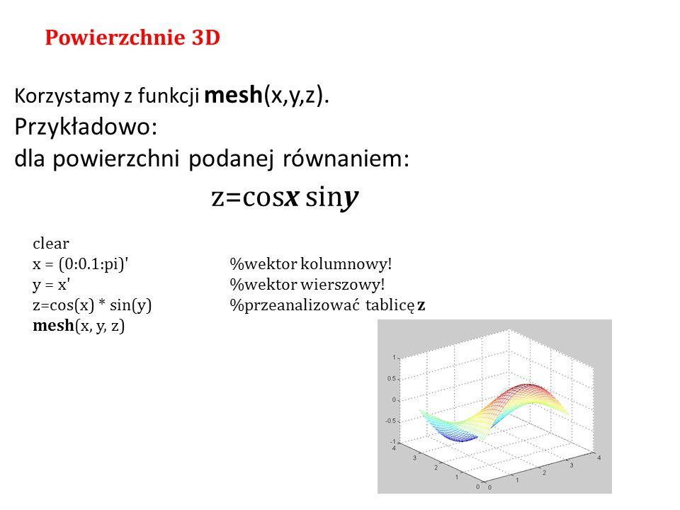 z=cosx siny Przykładowo: dla powierzchni podanej równaniem: