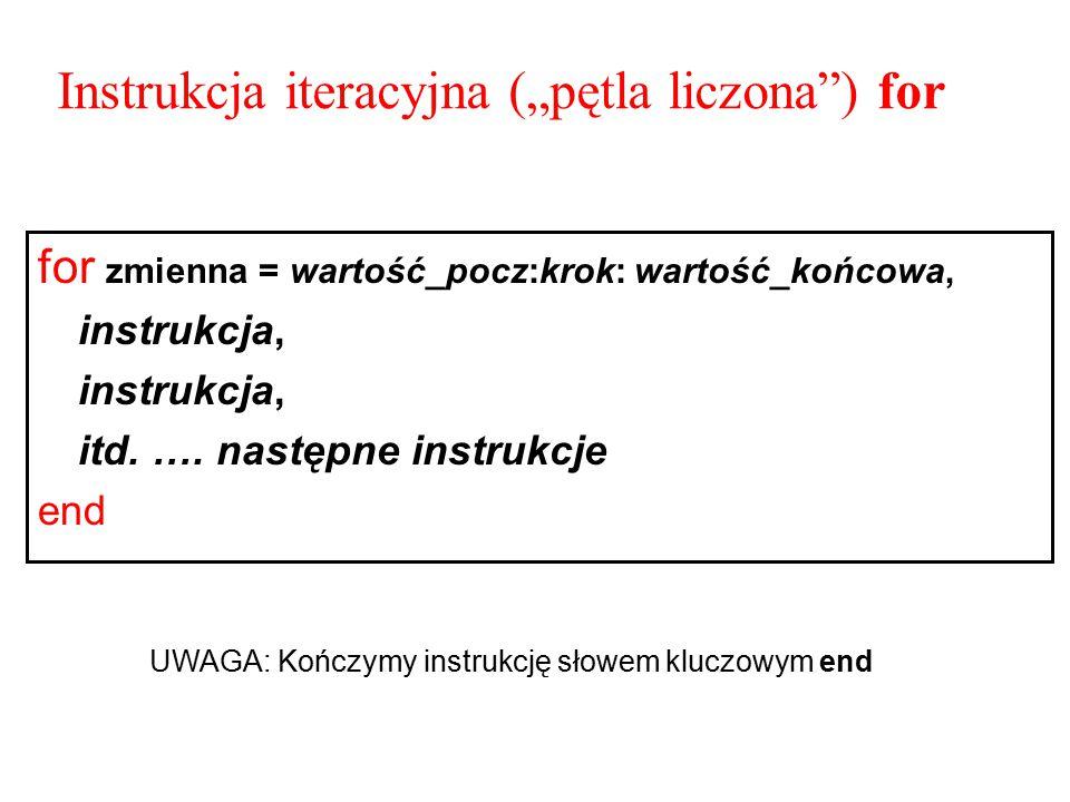 """Instrukcja iteracyjna (""""pętla liczona ) for"""