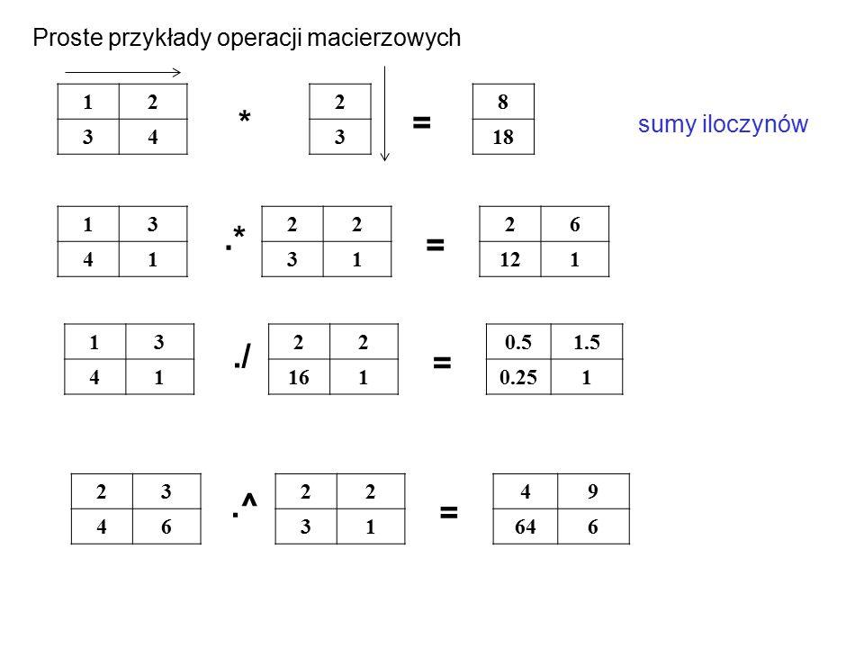 * = .* = ./ = .^ = Proste przykłady operacji macierzowych