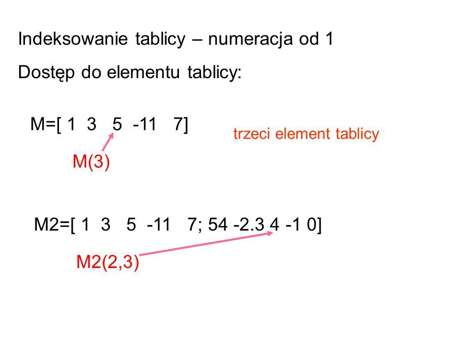 Indeksowanie tablicy – numeracja od 1 Dostęp do elementu tablicy: