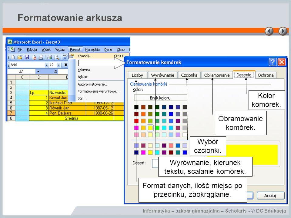 Formatowanie arkusza Kolor komórek. Obramowanie komórek.