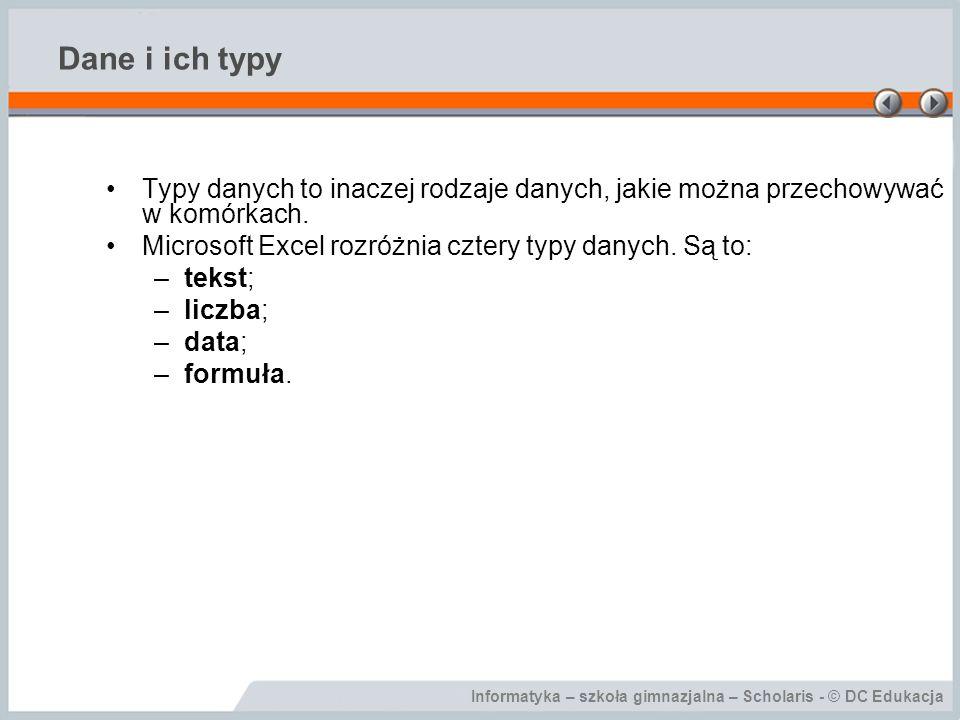 Dane i ich typy Typy danych to inaczej rodzaje danych, jakie można przechowywać w komórkach. Microsoft Excel rozróżnia cztery typy danych. Są to: