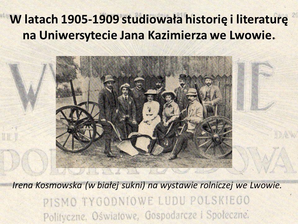 W latach 1905-1909 studiowała historię i literaturę na Uniwersytecie Jana Kazimierza we Lwowie.