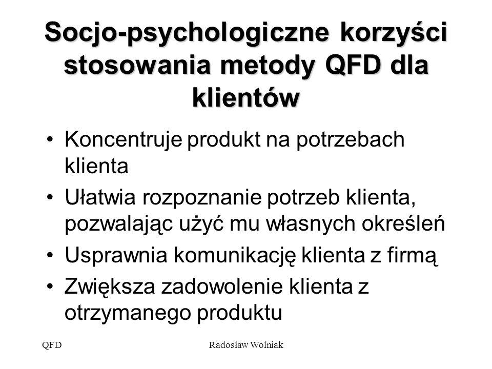 Socjo-psychologiczne korzyści stosowania metody QFD dla klientów