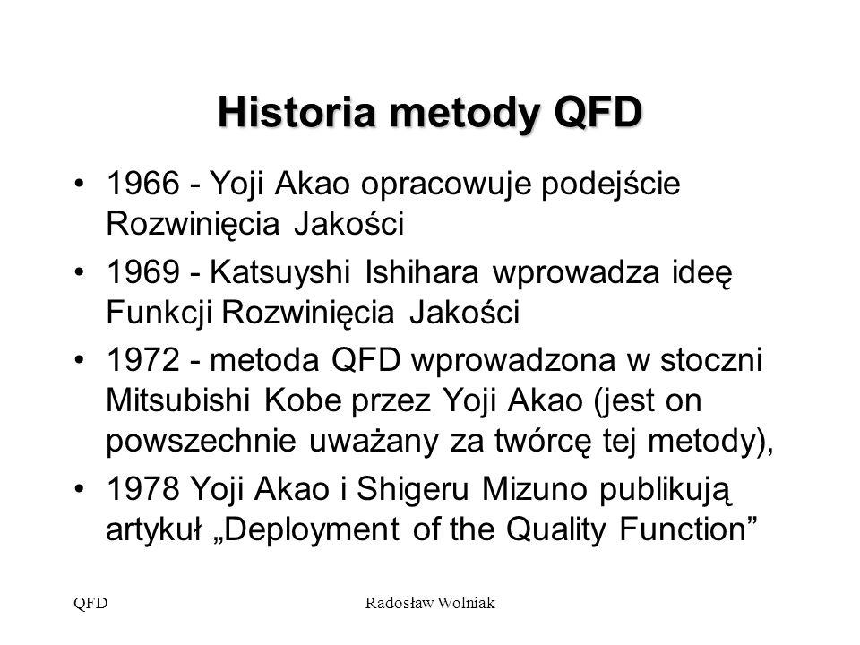 Historia metody QFD 1966 - Yoji Akao opracowuje podejście Rozwinięcia Jakości. 1969 - Katsuyshi Ishihara wprowadza ideę Funkcji Rozwinięcia Jakości.