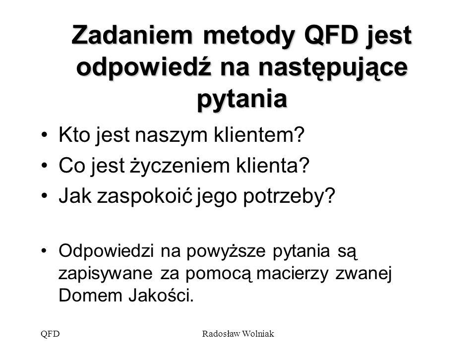 Zadaniem metody QFD jest odpowiedź na następujące pytania
