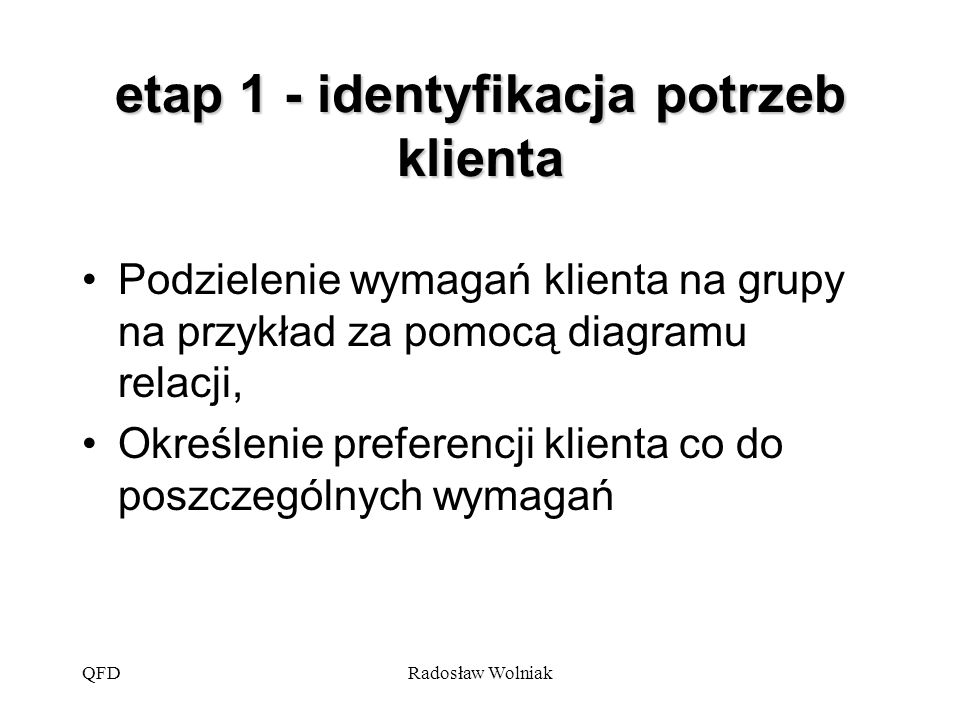 etap 1 - identyfikacja potrzeb klienta