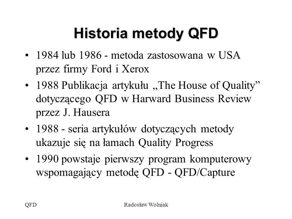 Historia metody QFD 1984 lub 1986 - metoda zastosowana w USA przez firmy Ford i Xerox.