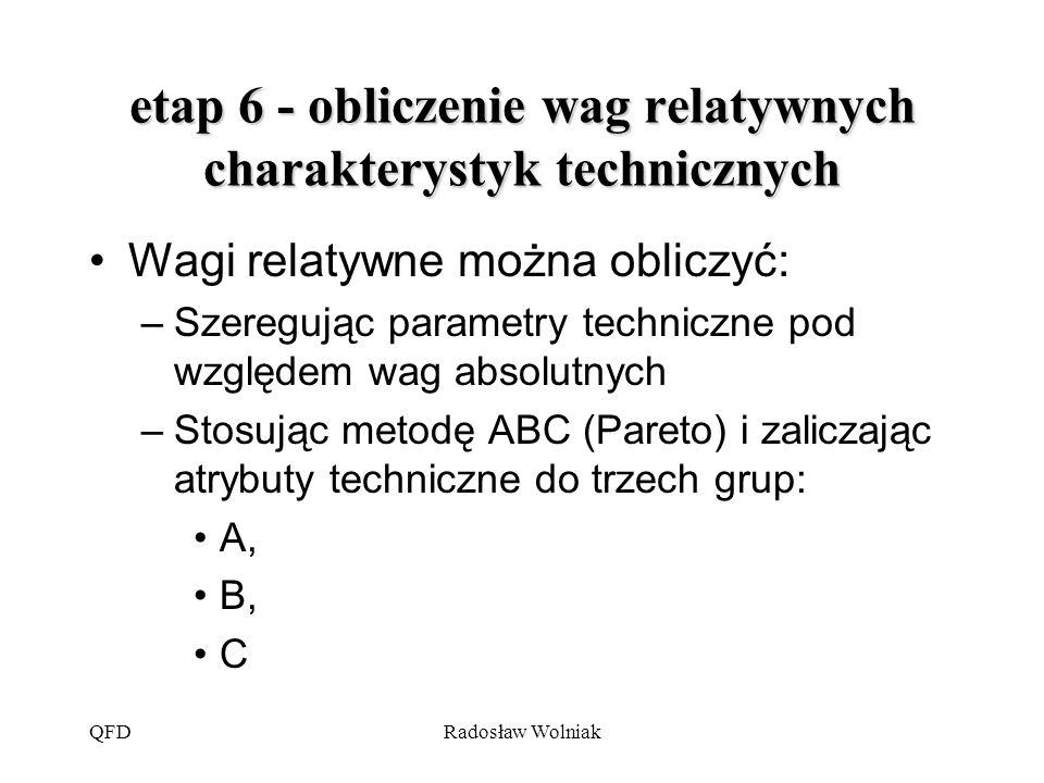 etap 6 - obliczenie wag relatywnych charakterystyk technicznych