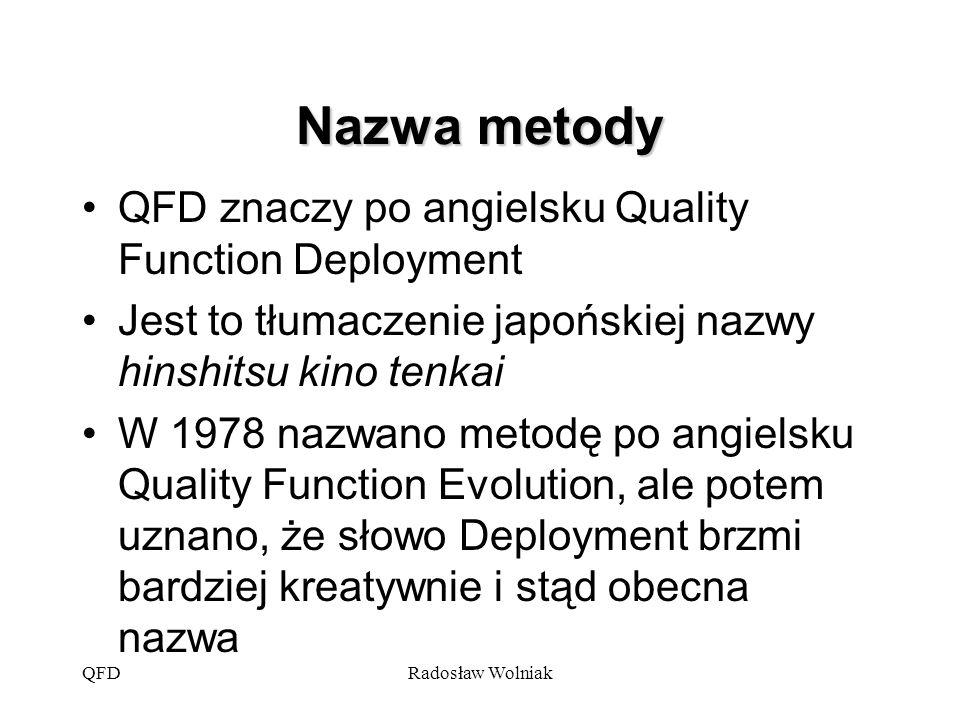 Nazwa metody QFD znaczy po angielsku Quality Function Deployment
