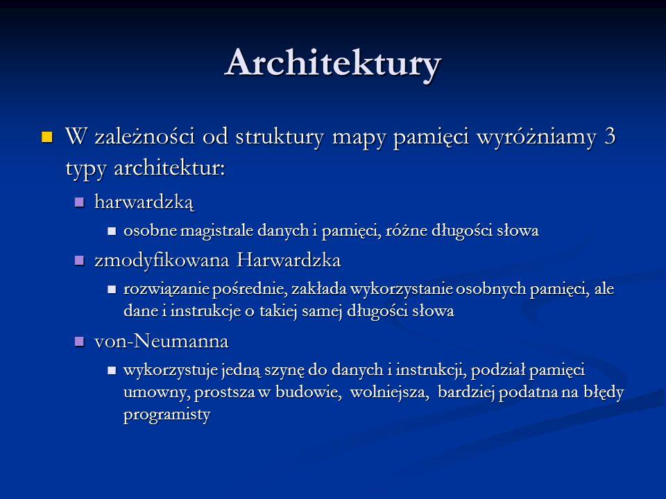 Architektury W zależności od struktury mapy pamięci wyróżniamy 3 typy architektur: harwardzką.