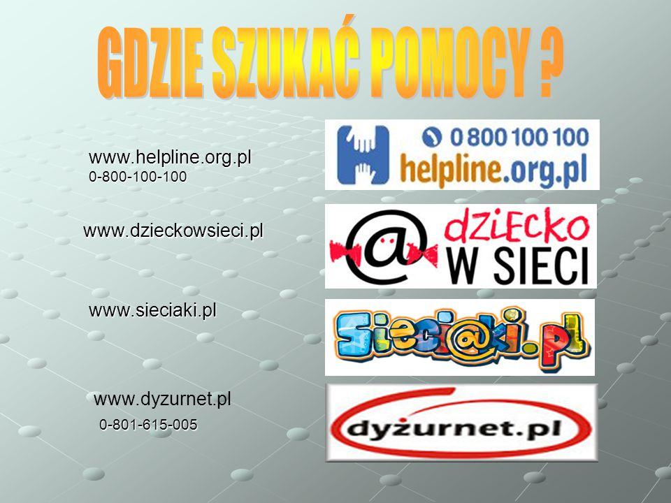 GDZIE SZUKAĆ POMOCY www.helpline.org.pl www.dzieckowsieci.pl