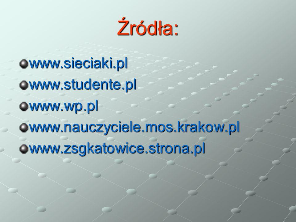 Źródła: www.sieciaki.pl www.studente.pl www.wp.pl