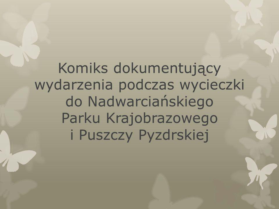 Komiks dokumentujący wydarzenia podczas wycieczki do Nadwarciańskiego Parku Krajobrazowego i Puszczy Pyzdrskiej