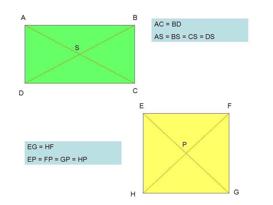 A B AC = BD AS = BS = CS = DS S C D E F P EG = HF EP = FP = GP = HP G H