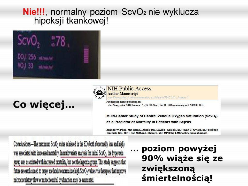 Nie!!!, normalny poziom ScvO2 nie wyklucza hipoksji tkankowej!